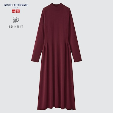WOMEN 3D KNIT LONG-SLEEVE FLARE DRESS (INES DE LA FRESSANGE)