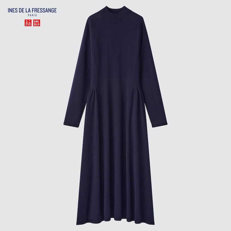 Women 3d Knit Long-Sleeve Flare Dress (Ines De La Fressange), Navy, Large
