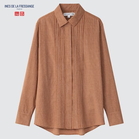 Women Ines de la Fressange Cotton Checked Pintucked Shirt