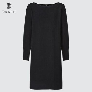 Women 3d Knit Cotton Boat Neck Long-Sleeve Dress, Black, Medium