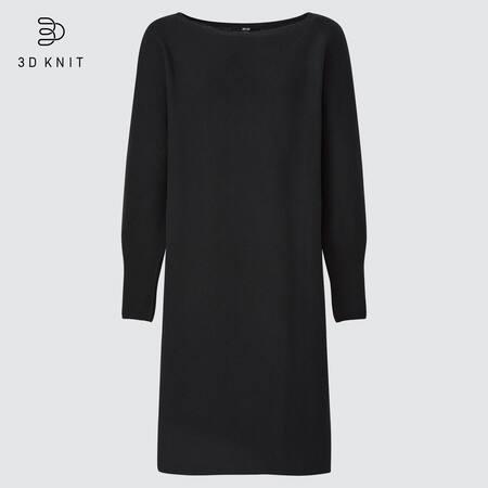 Damen 3D Knit nahtloses langärmliges Kleid mit Boot-Ausschnitt