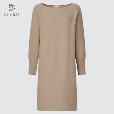 Women 3d Knit Cotton Boat Neck Long-Sleeve Dress, Beige, Medium