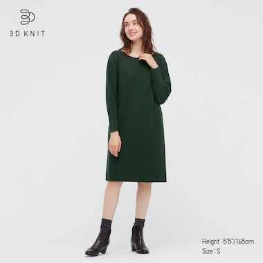 Women 3d Knit Cotton Boat Neck Long-Sleeve Dress, Green, Medium