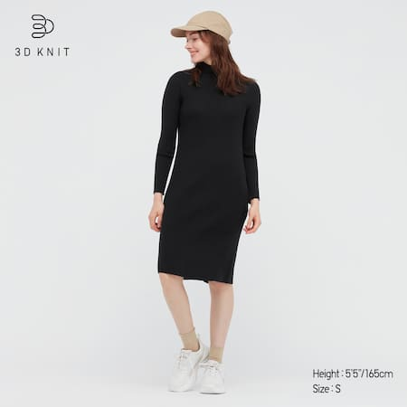 Damen 3D Knit nahtloses geripptes Extra feine Merinowolle Kleid mit Stehkragen