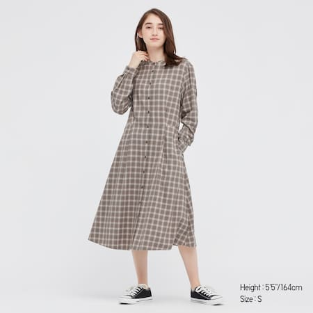 Women Soft Flannel Checked Flared Long Sleeved Dress