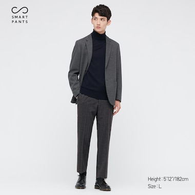 MEN SMART 2-WAY STRETCH SOLID ANKLE-LENGTH PANTS