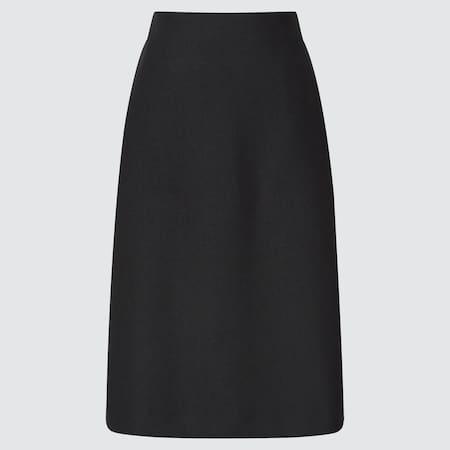 Women Wool Blend Narrow Midi Skirt (Short)