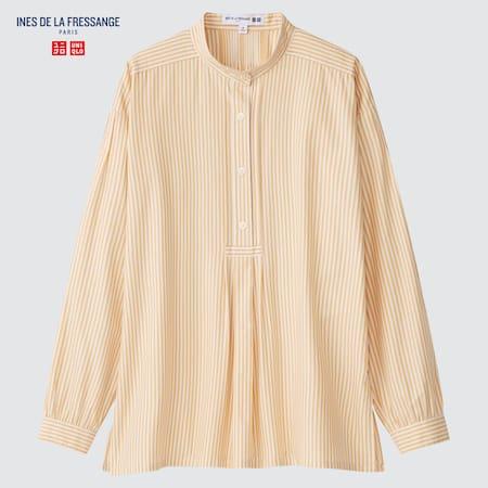Women Ines de la Fressange Cotton Twill Striped Pullover Shirt