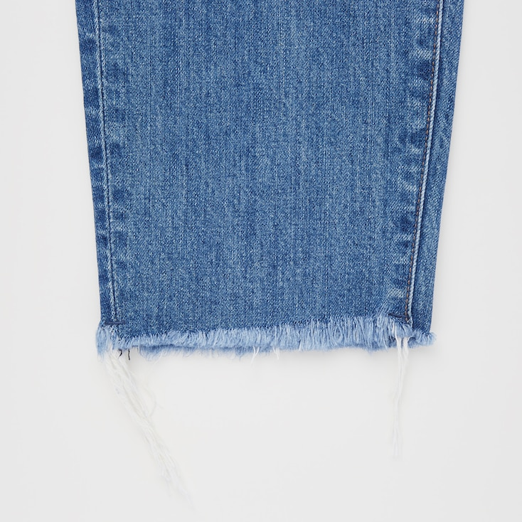 Women Peg Top High-Rise Damaged Jeans, Blue, Large