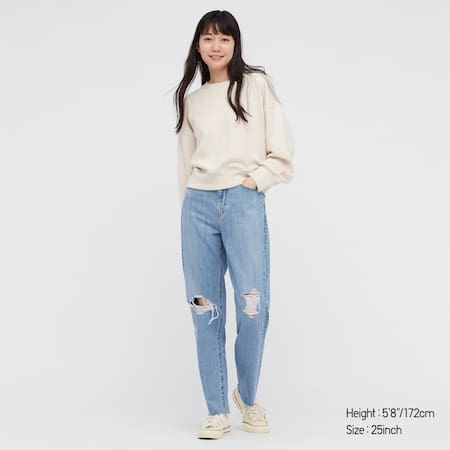 Women Peg Top High Rise Distressed Ankle Length Jeans (Long)