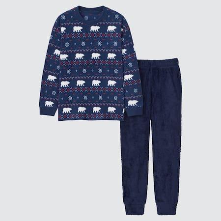 Kinder Gemustertes Fleece Langarm Lounge Set