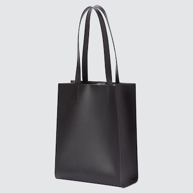 WOMEN FAUX LEATHER SQUARE TOTE BAG (ONLINE EXCLUSIVE)