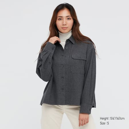 Damen Cropped Flanell Hemdjacke