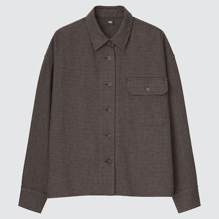 Women Heavy Flannel Cropped Fit Shirt Jacket