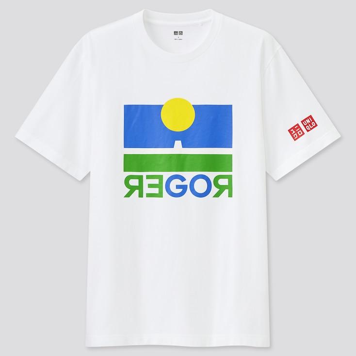 Men Short Sleeve Graphic T-Shirt (Roger Federer), White, Large