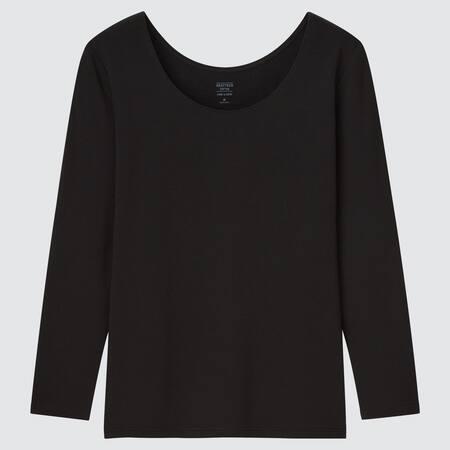 Damen HEATTECH Baumwoll Langarmshirt mit U-Ausschnitt