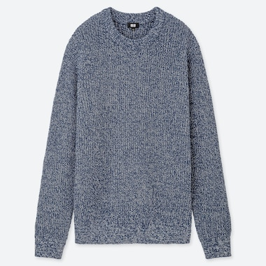 MEN MIDDLE GAUGE KNIT RIBBED CREW NECK JUMPER