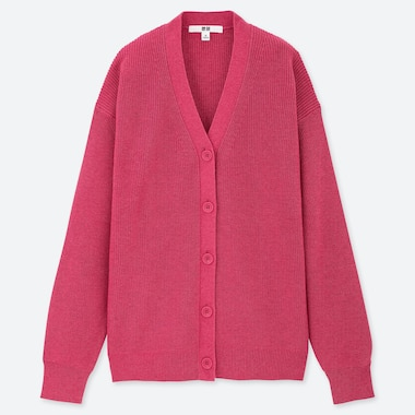 WOMEN COTTON CASHMERE V NECK CARDIGAN