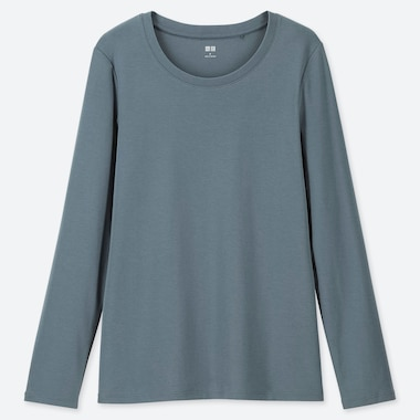 WOMEN COTTON RIBBED CREW NECK LONG SLEEVED T-SHIRT