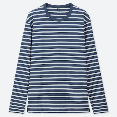 MEN WASHED STRIPED LONG SLEEVED T-SHIRT