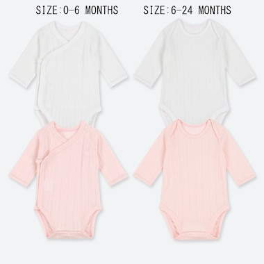BABIES NEWBORN CREW NECK LONG SLEEVE BODYSUIT (TWO PACK)