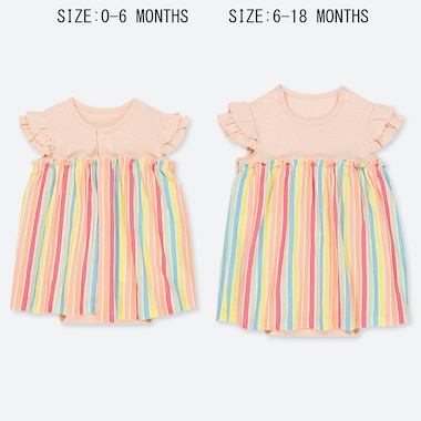 BABIES NEWBORN STRIPED SHORT SLEEVED ALL IN ONE OUTFIT