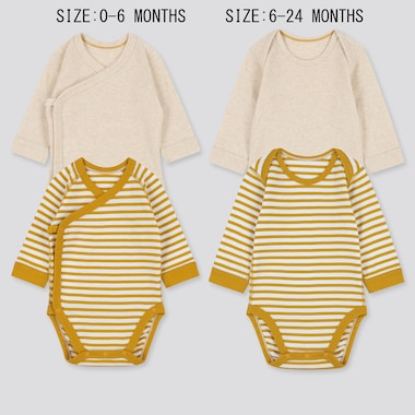 BABIES NEWBORN STRIPED CREW NECK LONG SLEEVED BODYSUIT (TWO PACK)