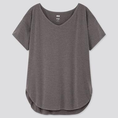Women AIRism V Neck Longline Short Sleeved T-Shirt