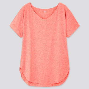 Women AIRism V Neck Longline Short Sleeved T-Shirt