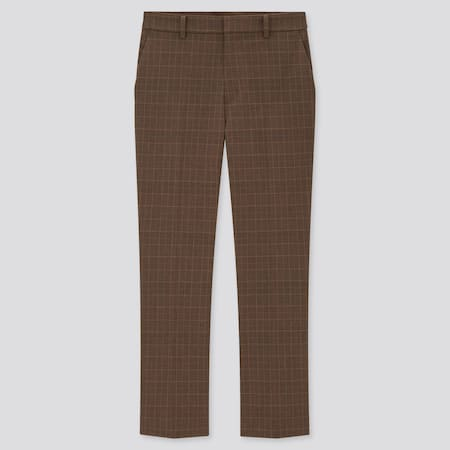 Women Smart Stretch Checked Ankle Length Trousers