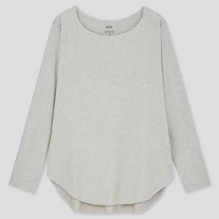 Women AIRism Seamless Long Sleeved Longline T-Shirt