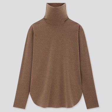 Women AIRism Seamless Turtleneck Longline Long Sleeved T-Shirt