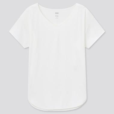 Damen Langes Airism Seamless T-Shirt mit V-Ausschnitt