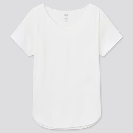 Women AIRism Seamless V Neck Longline Short Sleeved T-Shirt