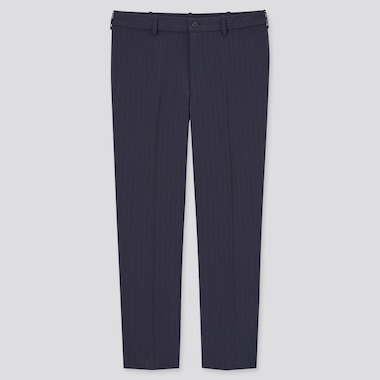 Men Smart Comfort Striped Ankle Length Trousers