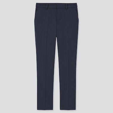 Women Smart Comfort Striped Ankle Length Trousers (Long)