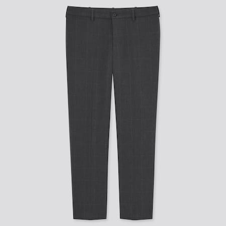 Men Smart Comfort Checked Ankle Length Trousers (Long)