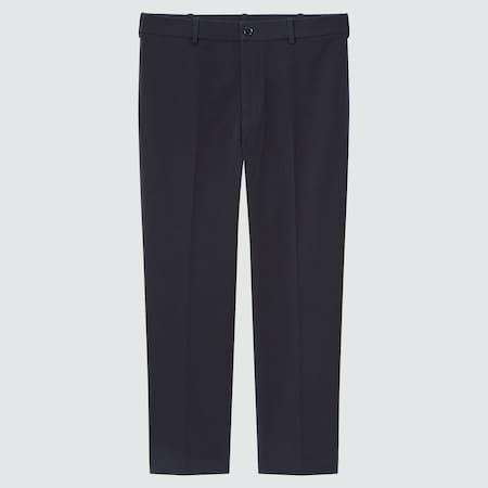 Men Smart Cotton Stretch Ankle Length Trousers