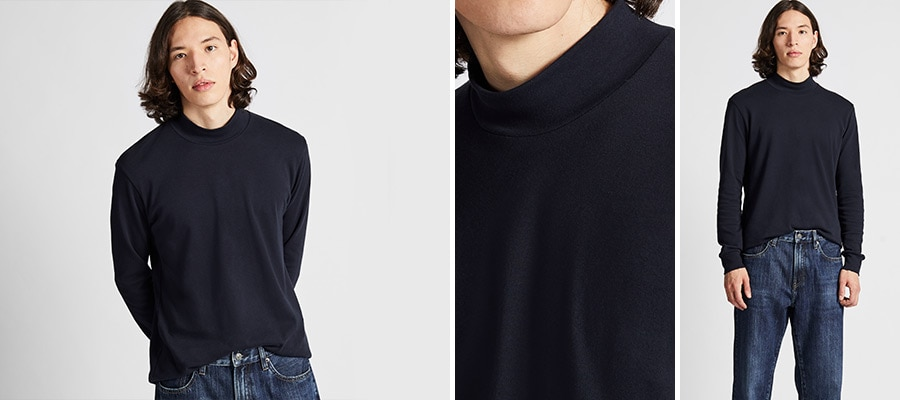 SOFT COTTON MOCK NECK LONG SLEEVED T-SHIRT