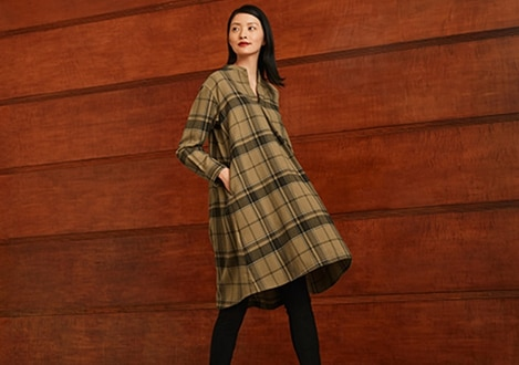 FLANNEL A-LINE LONG SLEEVED DRESS