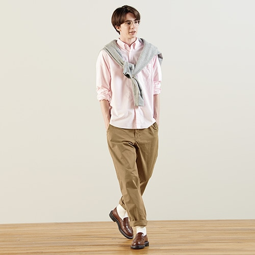 Pantalon Chino Vintage en Coton Coupe Regular