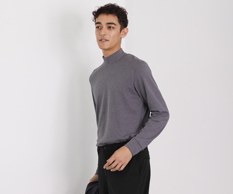 Soft Touch Mock Neck Long Sleeved T-Shirt