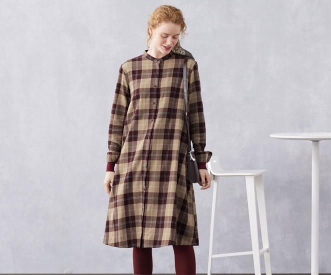 FLANNEL A LINE SHIRT DRESS