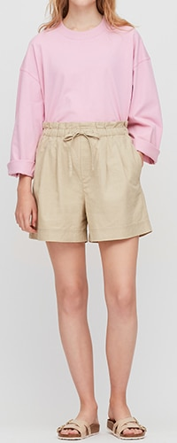 Linen Cotton Blend Relaxed Fit Shorts