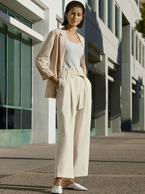 LINEN COTTON BLEND WIDE FIT CROPPED TROUSERS