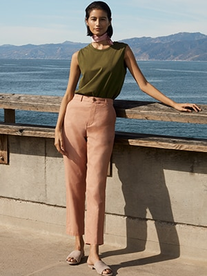 LINEN RAYON BLEND BELTED WIDE FIT TROUSERS