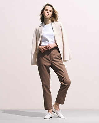 LINEN COTTON BLEND TAPERED TROUSERS