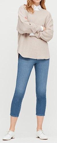 Ultra Stretch Denim Cropped Leggings Trousers