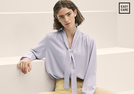 RAYON BOW TIE LONG SLEEVED BLOUSE