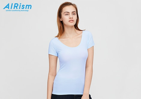 AIRISM SCOOP NECK SHORT SLEEVED T-SHIRT